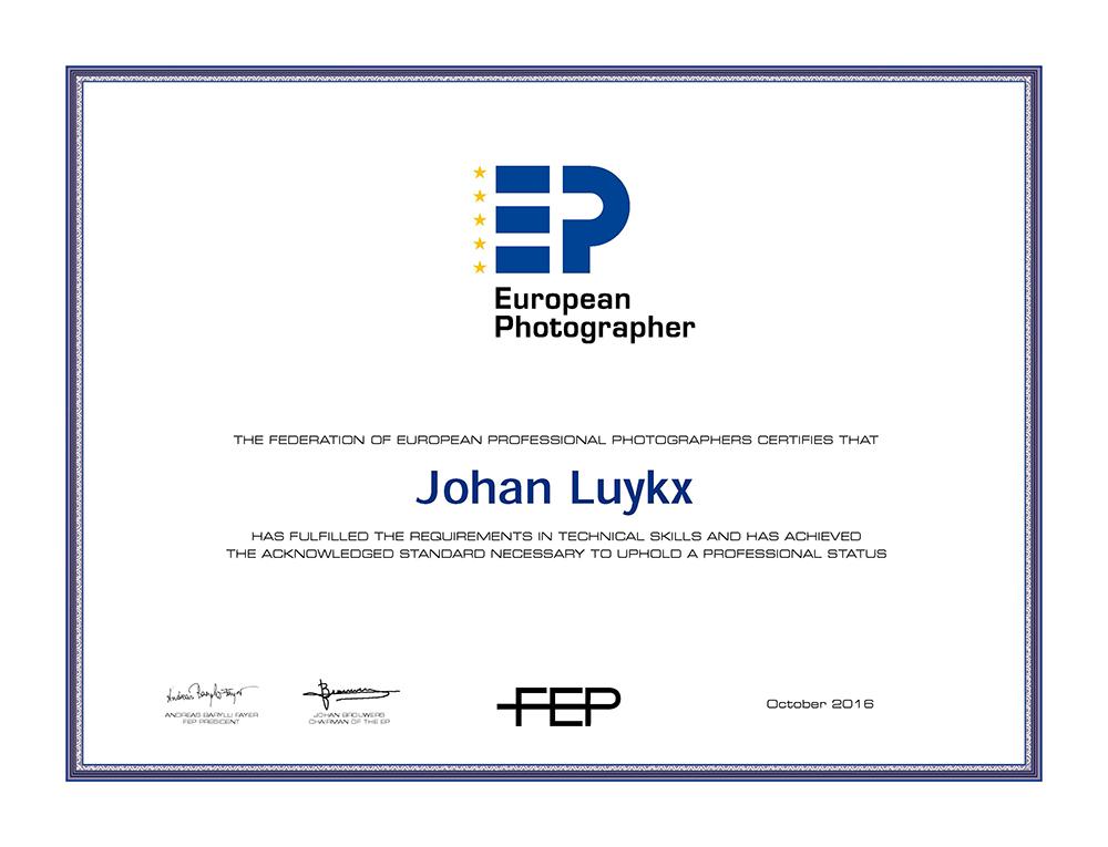 EP certificate Johan Luykx